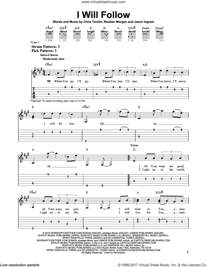 I Will Follow sheet music for guitar solo (easy tablature) by Chris Tomlin, Jason Ingram and Reuben Morgan, easy guitar (easy tablature)