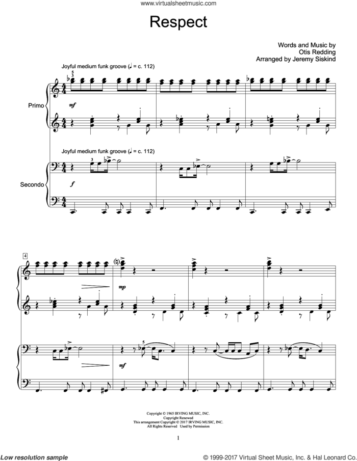 Respect sheet music for piano four hands by Aretha Franklin, Jeremy Siskind and Otis Redding, intermediate skill level