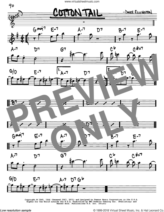 Cotton Tail sheet music for voice and other instruments (in Eb) by Duke Ellington, intermediate skill level