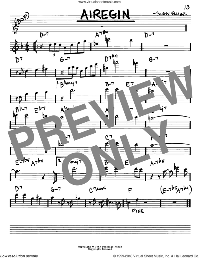 Airegin sheet music for voice and other instruments (in Eb) by John Coltrane and Sonny Rollins, intermediate skill level