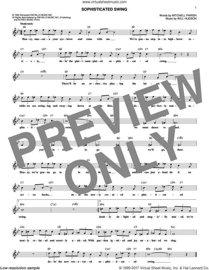 Sophisticated Swing sheet music for voice and other instruments (fake book) by Mitchell Parish and Will Hudson, intermediate skill level