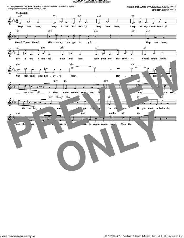 Slap That Bass sheet music for voice and other instruments (fake book) by George Gershwin and Ira Gershwin, intermediate skill level