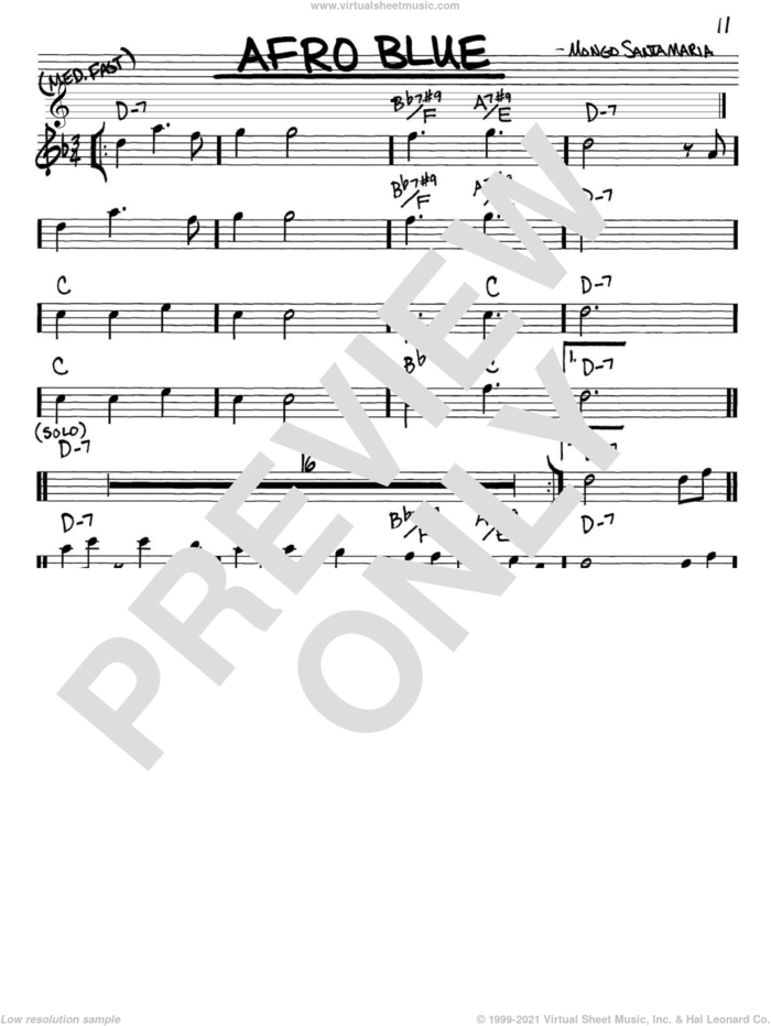 Afro Blue sheet music for voice and other instruments (in Eb) by John Coltrane and Mongo Santamaria, intermediate skill level