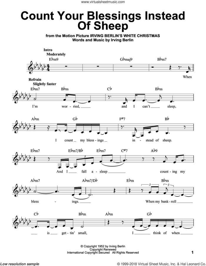 Count Your Blessings Instead Of Sheep sheet music for voice solo by Irving Berlin, intermediate skill level
