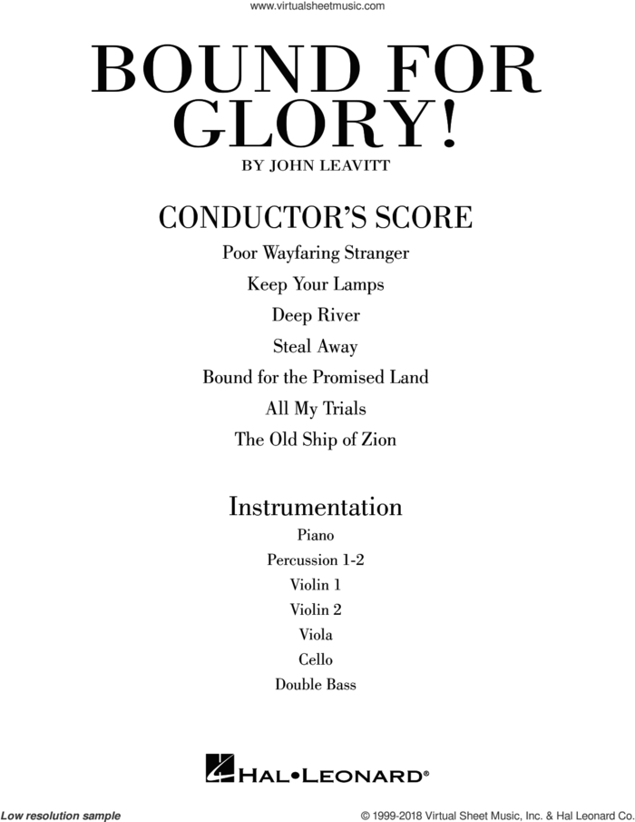 Bound for Glory! (COMPLETE) sheet music for orchestra/band by John Leavitt, intermediate skill level