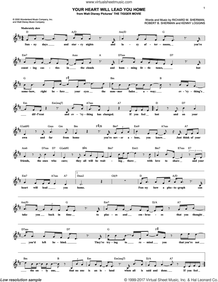 Your Heart Will Lead You Home sheet music for voice and other instruments (fake book) by Richard M. Sherman, Kenny Loggins and Robert B. Sherman, intermediate skill level
