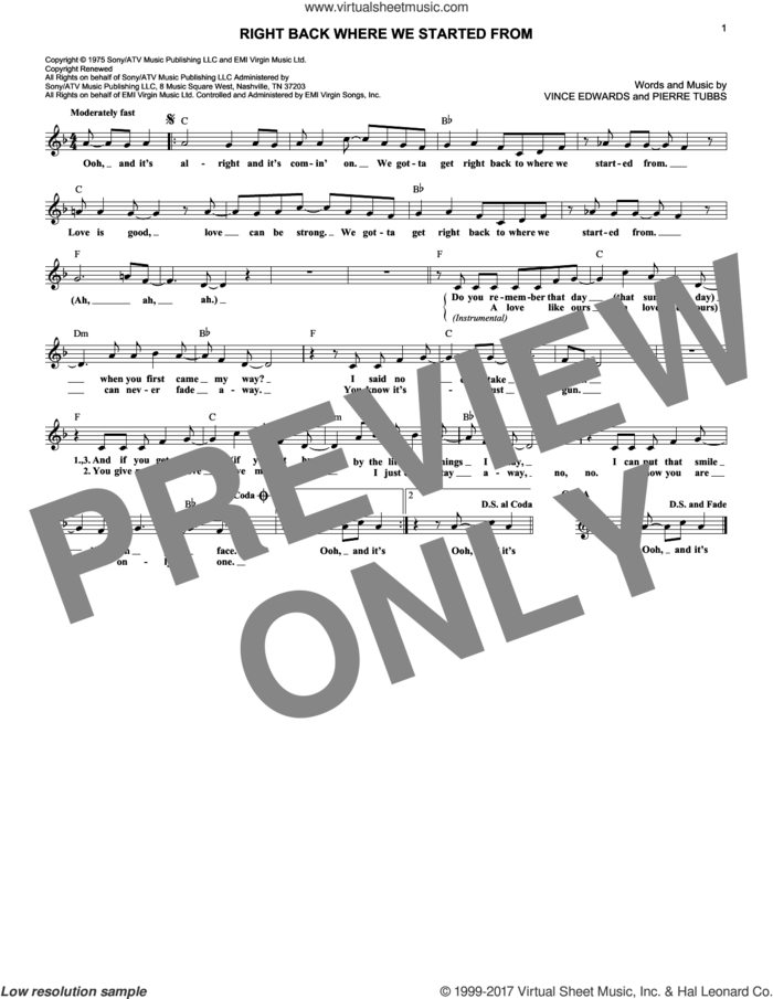 Right Back Where We Started From sheet music for voice and other instruments (fake book) by Maxine Nightingale, Pierre Tubbs and Vince Edwards, intermediate skill level