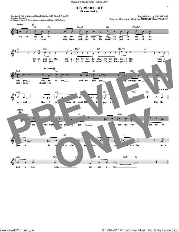It's Impossible (Somos Novios) sheet music for voice and other instruments (fake book) by Sid Wayne, Elvis Presley, Perry Como and Armando Manzanero, intermediate skill level