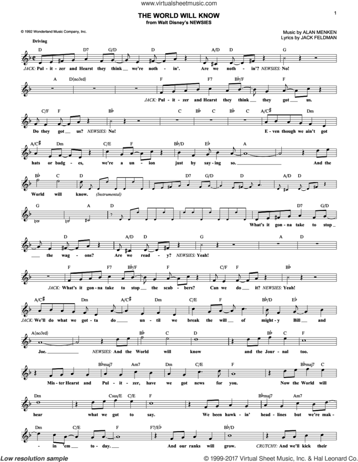 The World Will Know sheet music for voice and other instruments (fake book) by Alan Menken and Jack Feldman, intermediate skill level