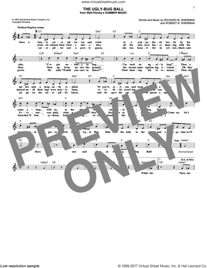 The Ugly-Bug Ball sheet music for voice and other instruments (fake book) by Richard M. Sherman and Robert B. Sherman, intermediate skill level