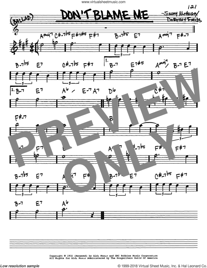 Don't Blame Me sheet music for voice and other instruments (in Eb) by Dorothy Fields and Jimmy McHugh, intermediate skill level