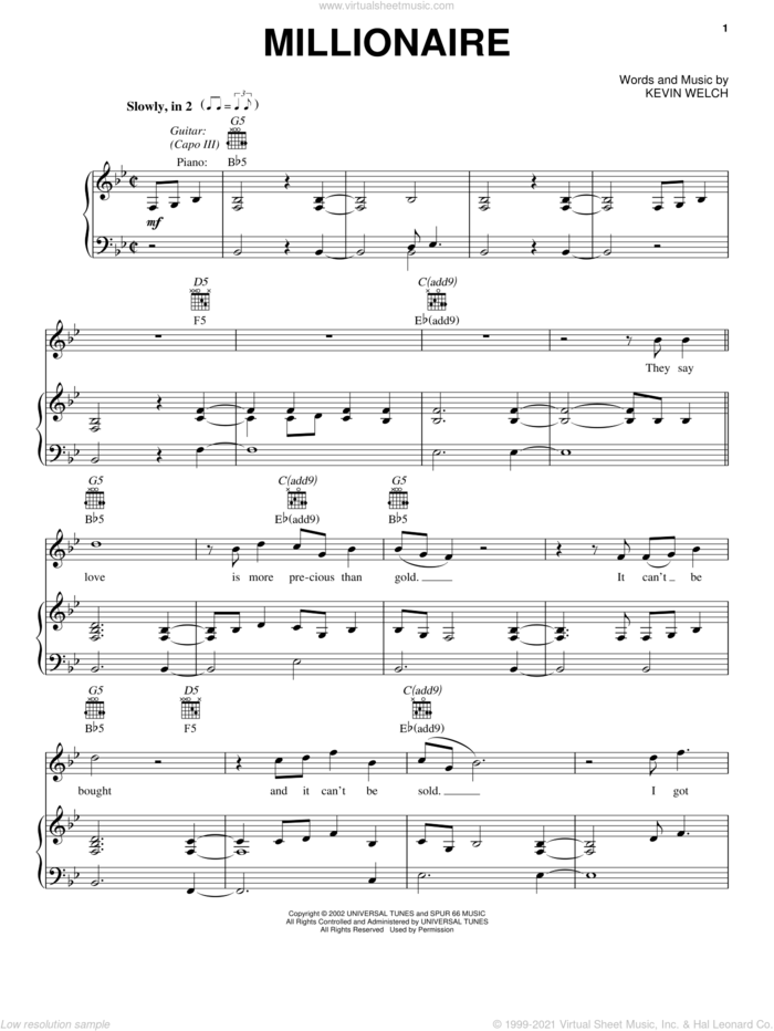 Millionaire sheet music for voice, piano or guitar by Chris Stapleton and Kevin Welch, intermediate skill level