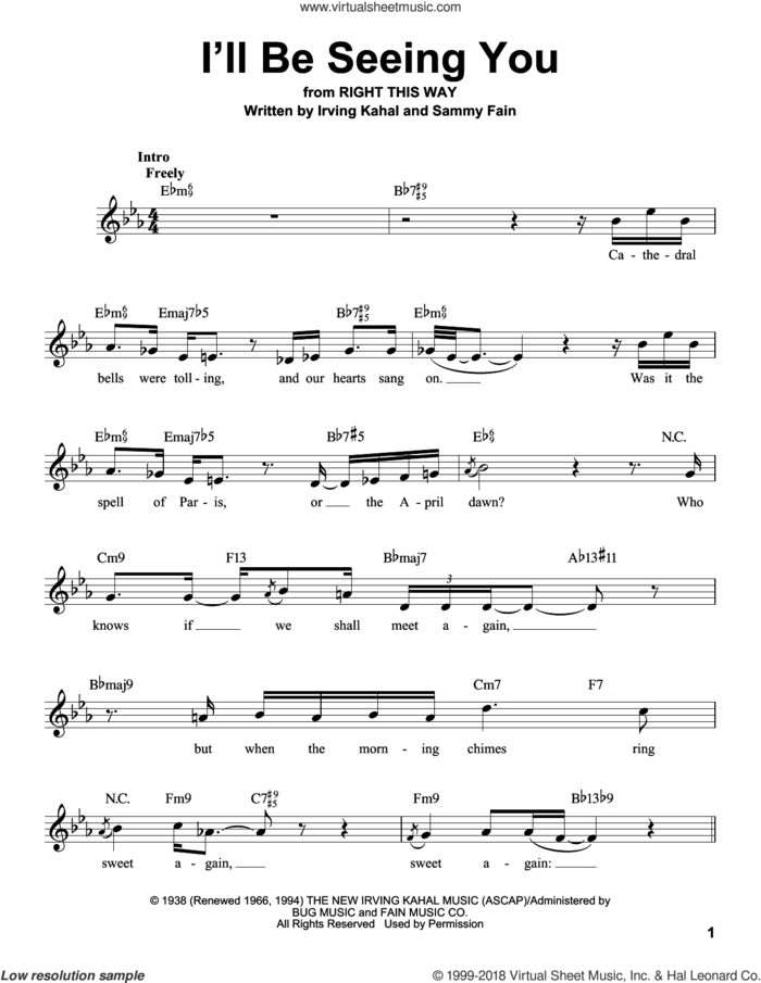 I'll Be Seeing You sheet music for voice solo by Sammy Fain and Irving Kahal, intermediate skill level