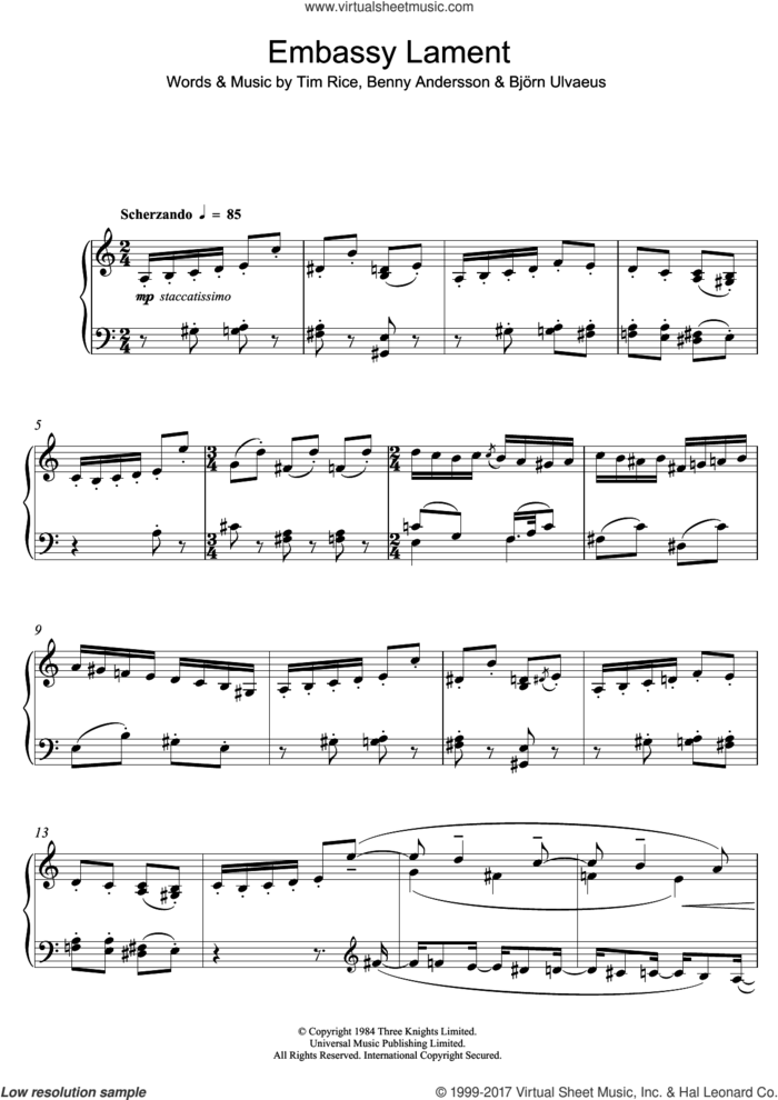 Embassy Lament (from 'Chess') sheet music for piano solo by Benny Andersson, Bjorn Ulvaeus and Tim Rice, intermediate skill level