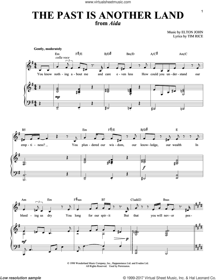 The Past Is Another Land (from Aida) sheet music for voice and piano by Elton John and Tim Rice, intermediate skill level