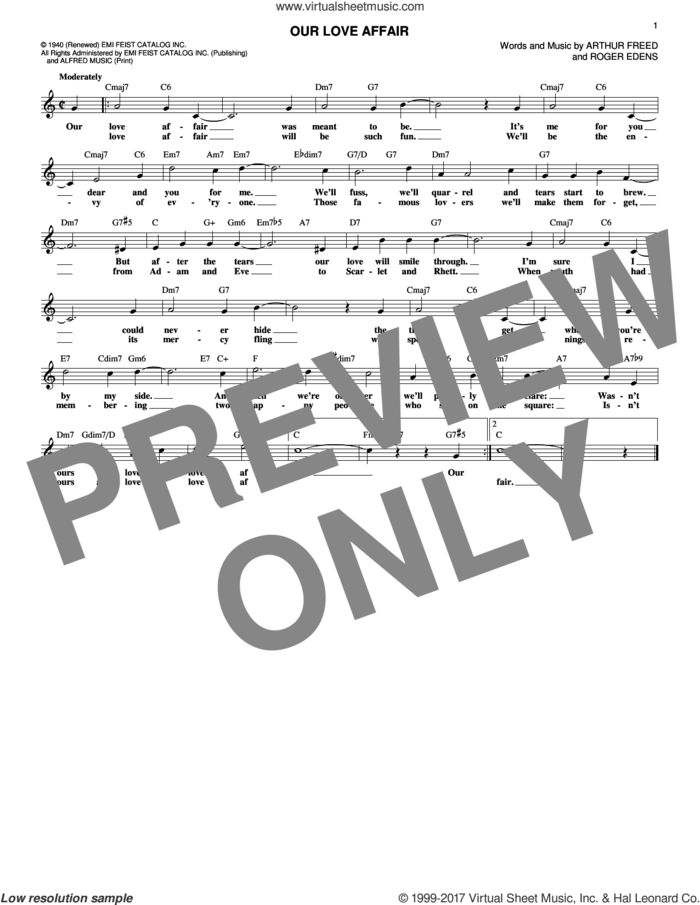 Our Love Affair sheet music for voice and other instruments (fake book) by Arthur Freed and Roger Edens, intermediate skill level