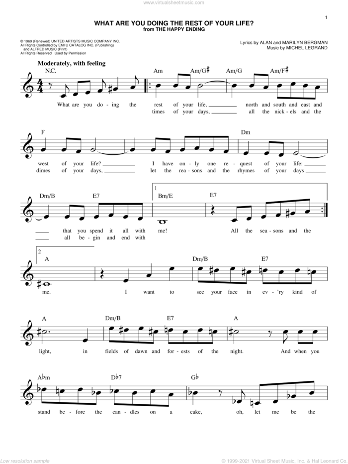 What Are You Doing The Rest Of Your Life? sheet music for voice and other instruments (fake book) by Michel Legrand, Alan and Marilyn Bergman and Michel Legrand, Alan Bergman and Marilyn Bergman, intermediate skill level