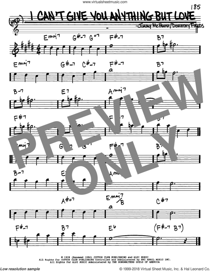 I Can't Give You Anything But Love sheet music for voice and other instruments (in Eb) by Dorothy Fields and Jimmy McHugh, intermediate skill level