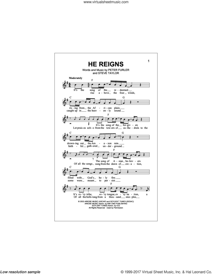He Reigns sheet music for voice and other instruments (fake book) by Newsboys, Peter Furler and Steve Taylor, intermediate skill level