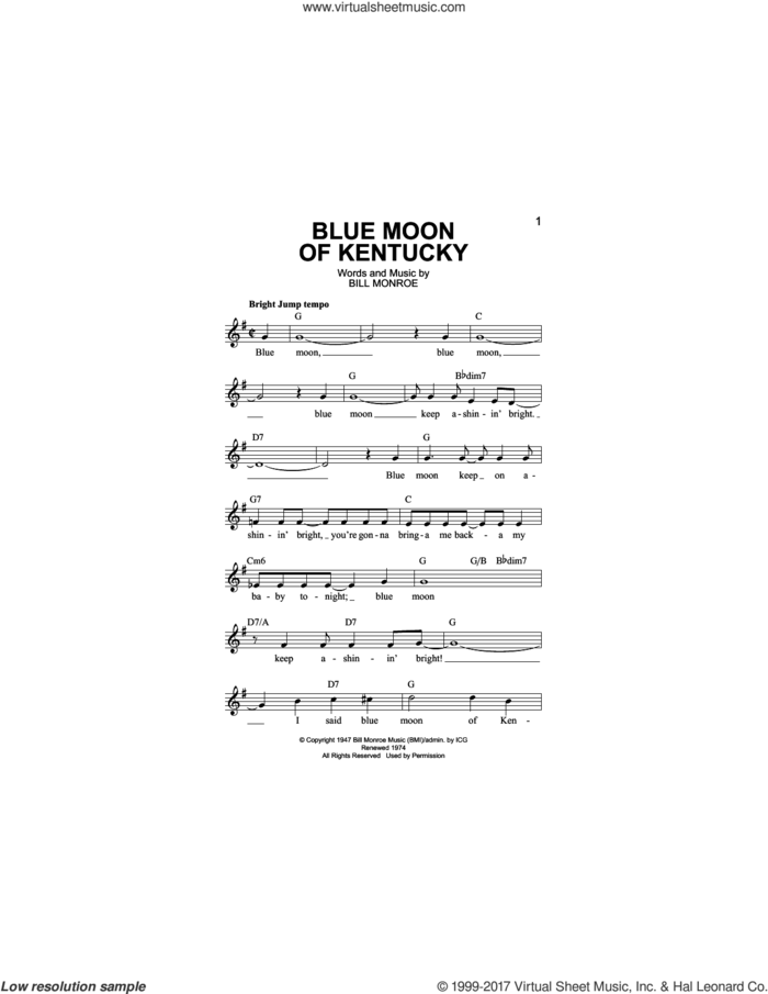 Blue Moon Of Kentucky sheet music for voice and other instruments (fake book) by Bill Monroe, Elvis Presley and Patsy Cline, intermediate skill level