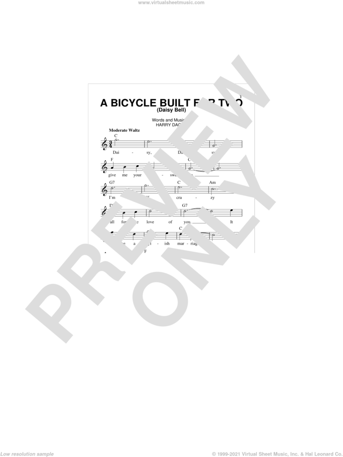 A Bicycle Built For Two (Daisy Bell) sheet music for voice and other instruments (fake book) by Harry Dacre, intermediate skill level