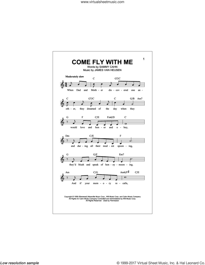 Come Fly With Me sheet music for voice and other instruments (fake book) by Sammy Cahn and Jimmy van Heusen, intermediate skill level