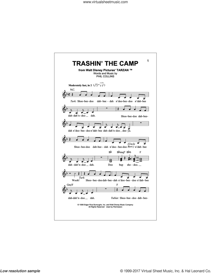 Trashin' The Camp (Pop Version) sheet music for voice and other instruments (fake book) by Phil Collins, intermediate skill level