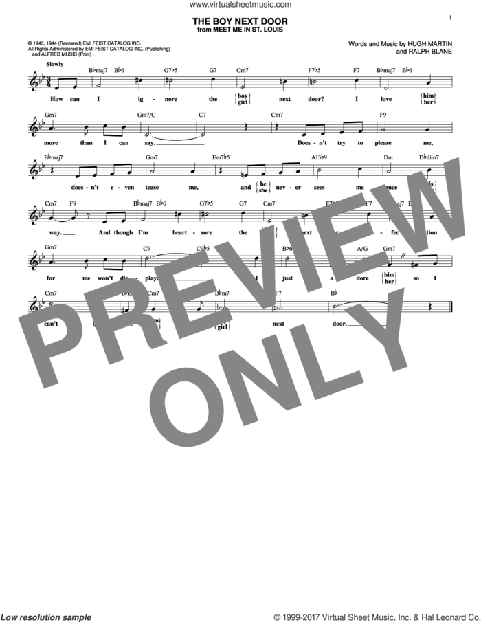 The Boy Next Door sheet music for voice and other instruments (fake book) by Secrets, Hugh Martin and Ralph Blane, intermediate skill level