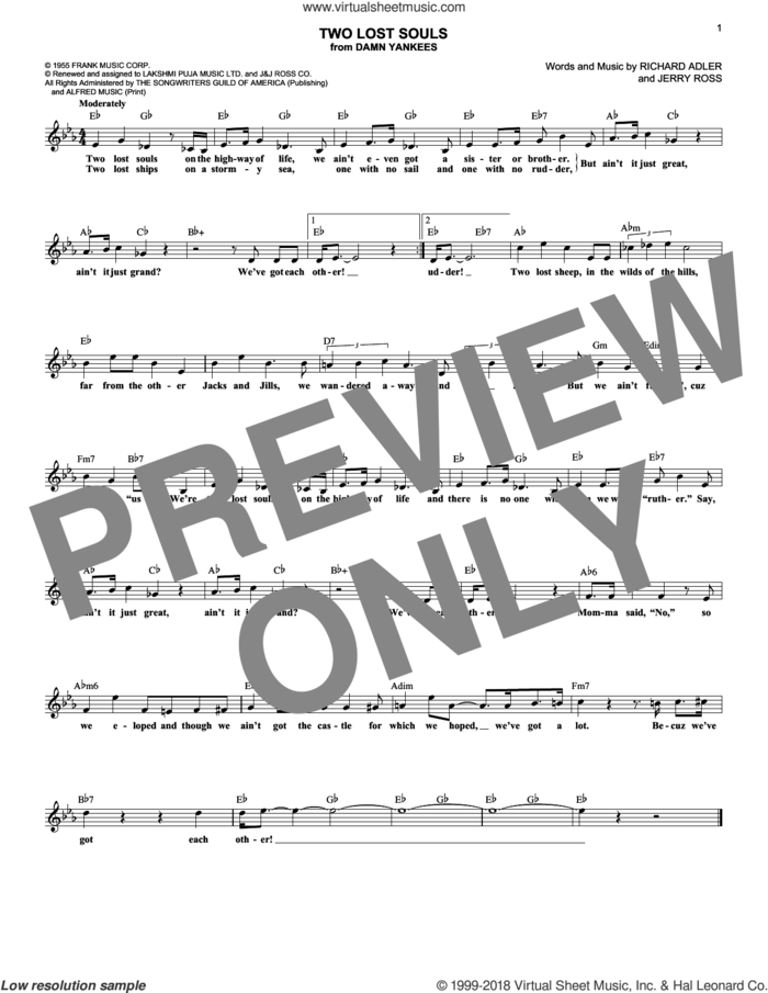Two Lost Souls sheet music for voice and other instruments (fake book) by Richard Adler and Jerry Ross, intermediate skill level