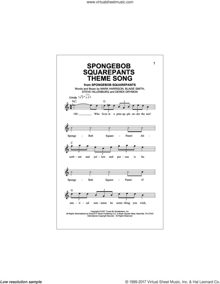 SpongeBob SquarePants Theme Song sheet music for voice and other instruments (fake book) by Blaise Smith, Derek Drym, Mark Harrison and Steve Hillenburg, intermediate skill level