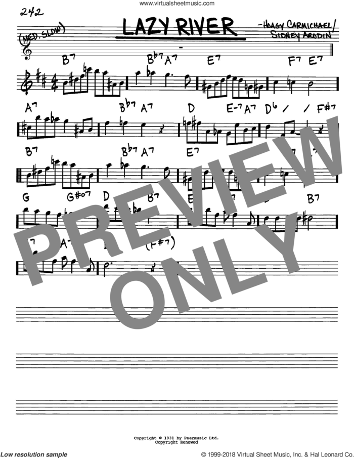 Lazy River sheet music for voice and other instruments (in Eb) by Hoagy Carmichael, Bobby Darin and Sidney Arodin, intermediate skill level