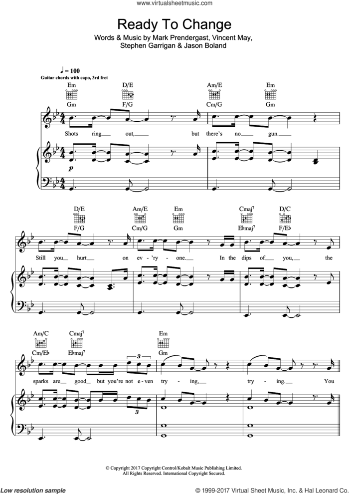 Ready To Change sheet music for voice, piano or guitar by Kodaline, Jason Boland, Mark Prendergast, Stephen Garrigan and Vincent May, intermediate skill level