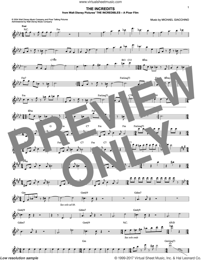 The Incredits (from The Incredibles) sheet music for voice and other instruments (fake book) by Michael Giacchino, intermediate skill level