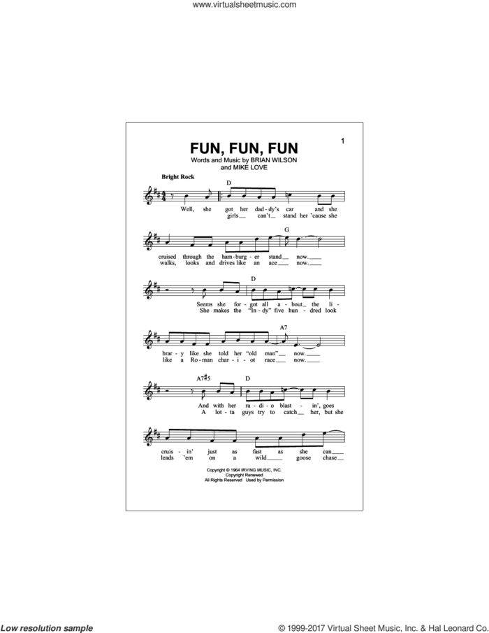 Fun, Fun, Fun sheet music for voice and other instruments (fake book) by The Beach Boys, Brian Wilson and Mike Love, intermediate skill level