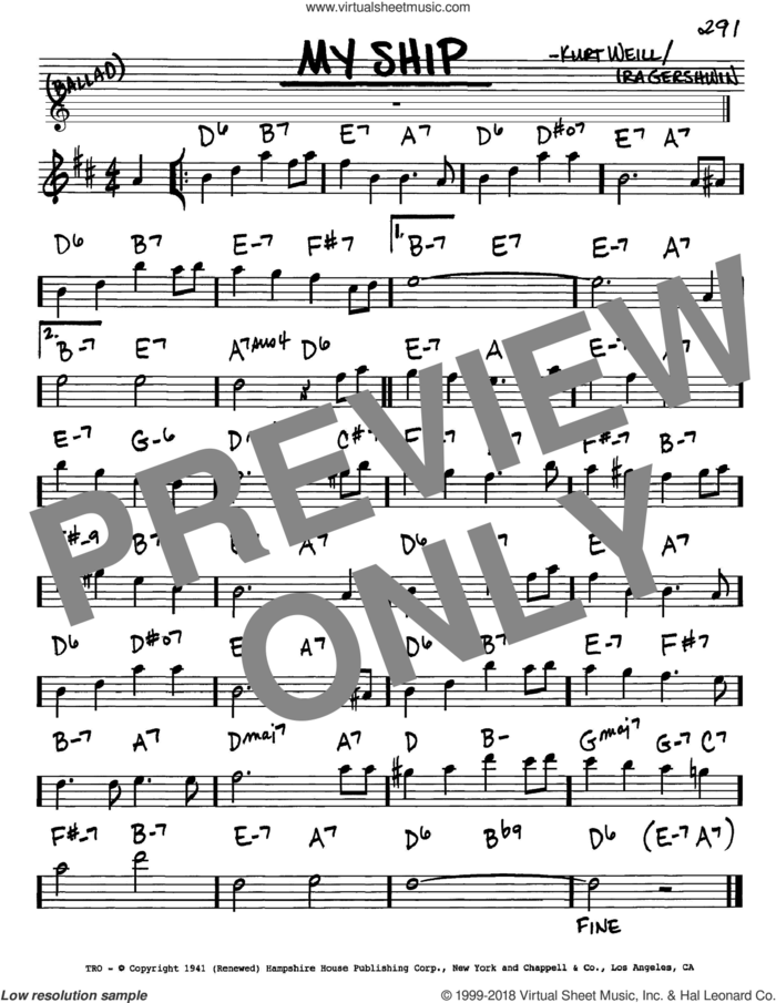 My Ship sheet music for voice and other instruments (in Eb) by Kurt Weill and Ira Gershwin, intermediate skill level