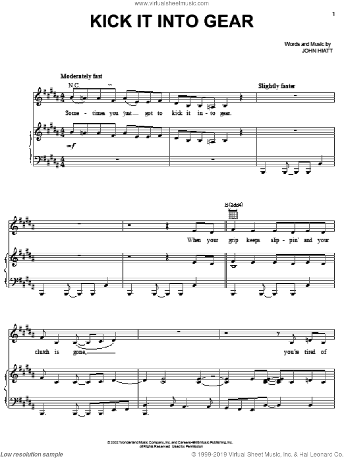 Kick It Into Gear sheet music for voice, piano or guitar by John Hiatt, intermediate skill level