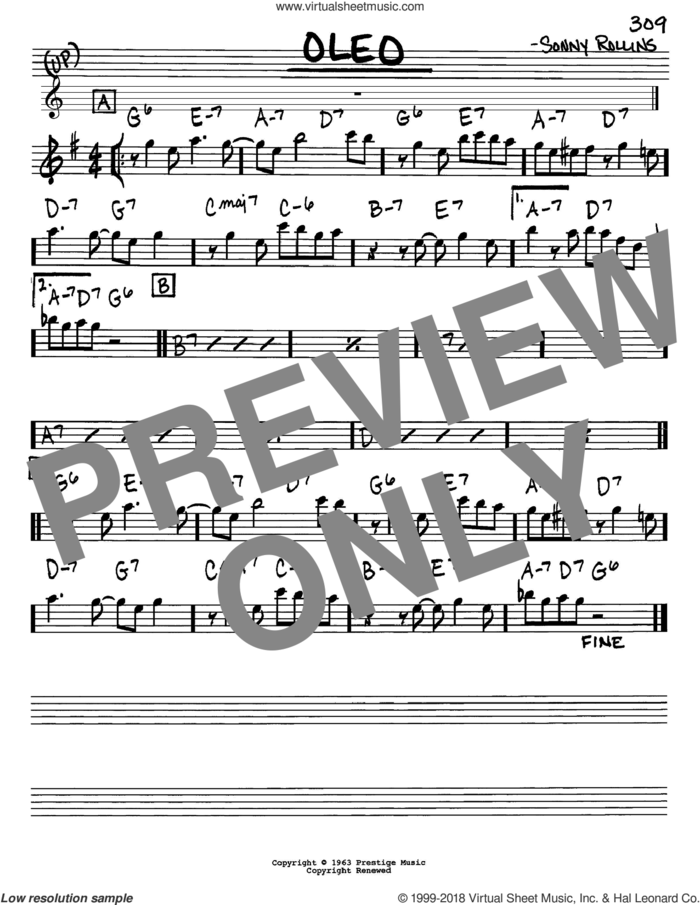 Oleo sheet music for voice and other instruments (in Eb) by John Coltrane and Sonny Rollins, intermediate skill level