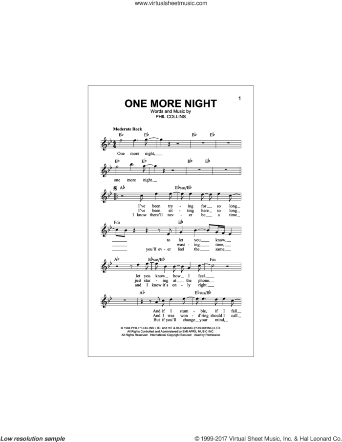 One More Night sheet music for voice and other instruments (fake book) by Phil Collins, intermediate skill level