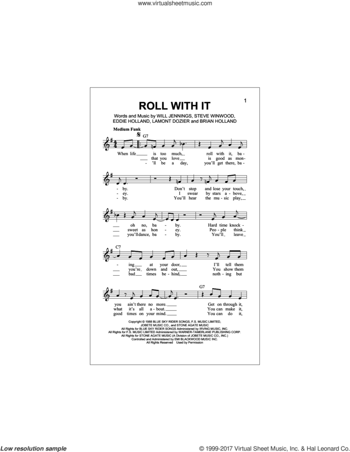 Roll With It sheet music for voice and other instruments (fake book) by Steve Winwood, Brian Holland, Eddie Holland, Lamont Dozier and Will Jennings, intermediate skill level