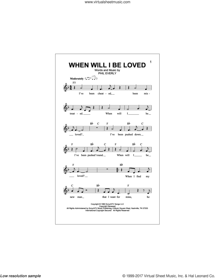 When Will I Be Loved sheet music for voice and other instruments (fake book) by Linda Ronstadt and Phil Everly, intermediate skill level