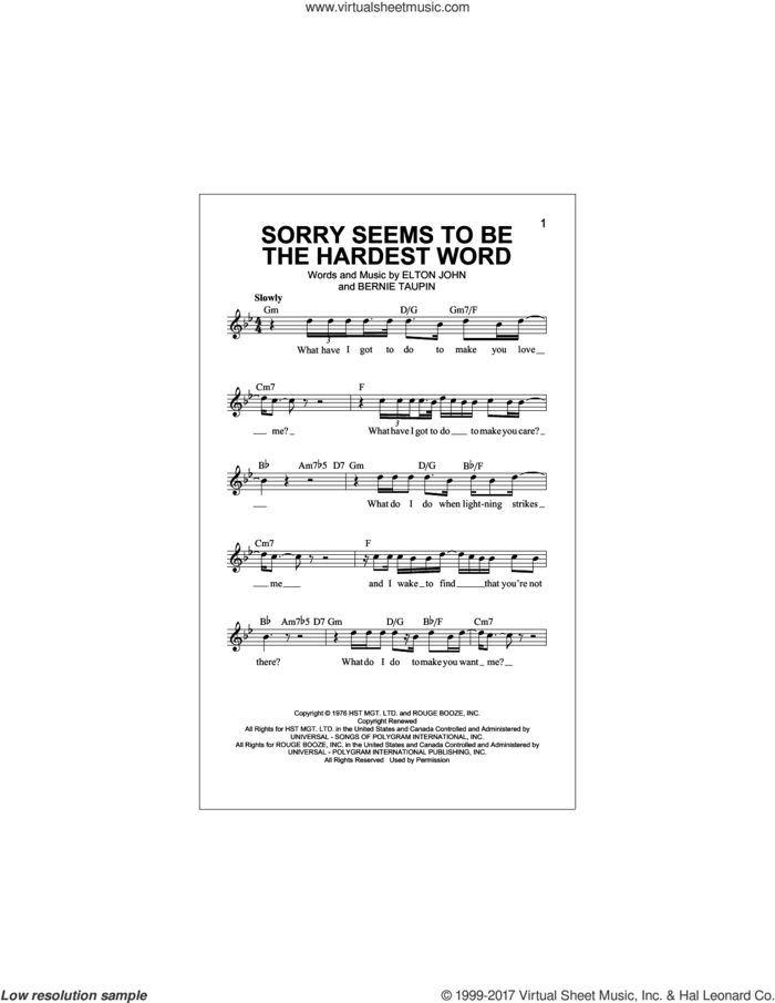 Sorry Seems To Be The Hardest Word sheet music for voice and other instruments (fake book) by Elton John and Bernie Taupin, intermediate skill level