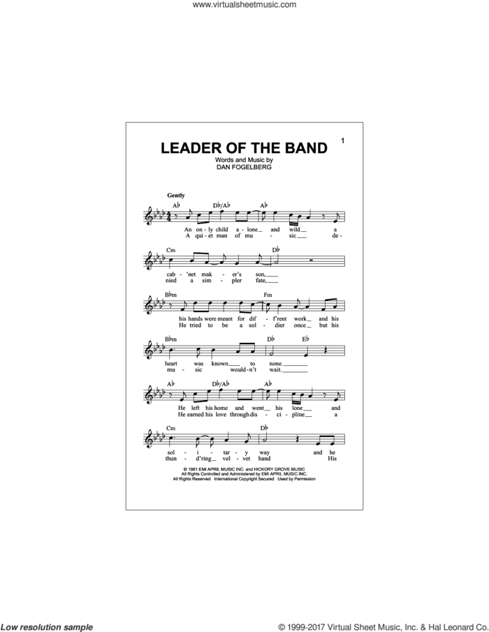Leader Of The Band sheet music for voice and other instruments (fake book) by Dan Fogelberg, intermediate skill level
