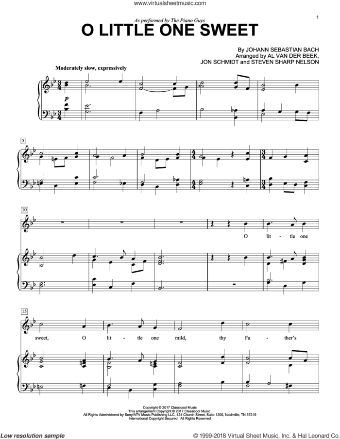 O Little One Sweet sheet music for voice and piano by The Piano Guys, Al van der Beek, Johann Sebastian Bach, Jon Schmidt (arr.) and Steven Sharp Nelson (arr.), intermediate skill level