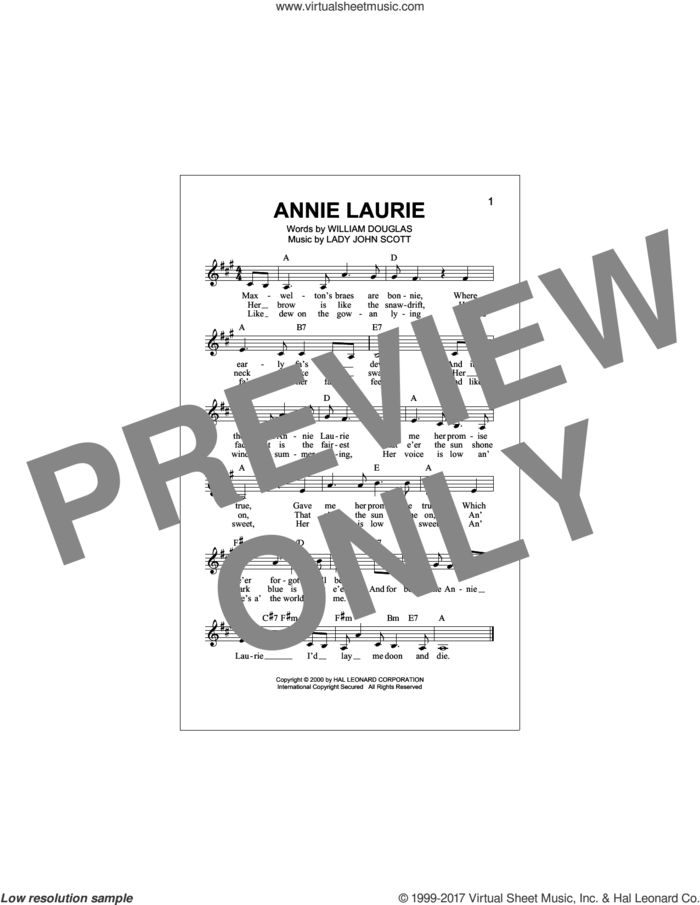 Annie Laurie sheet music for voice and other instruments (fake book) by Lady John Scott and William Douglas, intermediate skill level