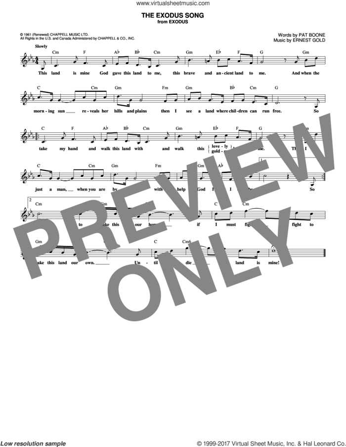 The Exodus Song sheet music for voice and other instruments (fake book) by Pat Boone and Ernest Gold, intermediate skill level