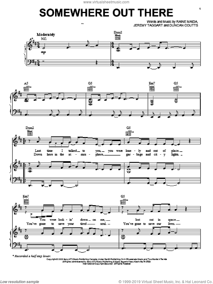 Somewhere Out There sheet music for voice, piano or guitar by Our Lady Peace, Duncan Coutts, Jeremy Taggart and Raine Maida, intermediate skill level