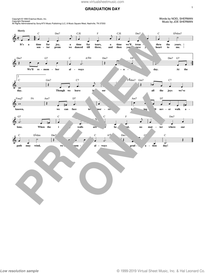 Graduation Day sheet music for voice and other instruments (fake book) by Noel Sherman and Joe Sherman, intermediate skill level