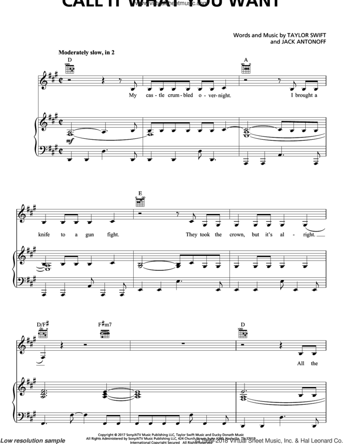 Call It What You Want sheet music for voice, piano or guitar by Taylor Swift and Jack Antonoff, intermediate skill level