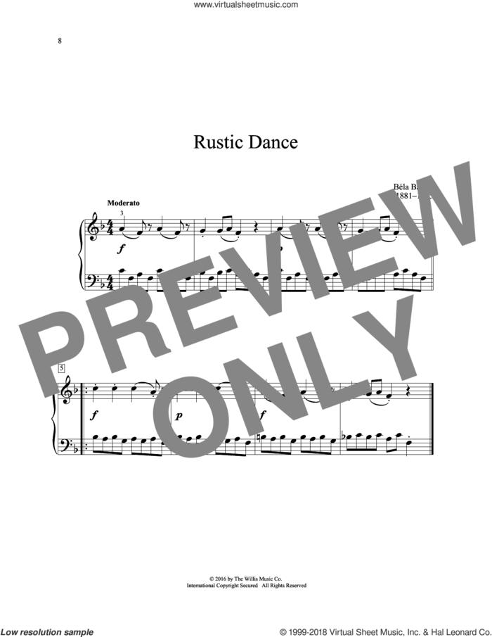 Rustic Dance sheet music for piano solo (elementary) by Bela Bartok, classical score, beginner piano (elementary)