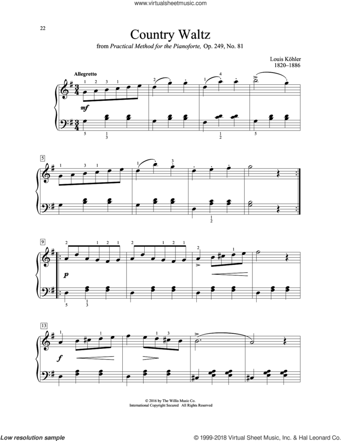 Country Waltz sheet music for piano solo (elementary) by Louis Kohler, classical score, beginner piano (elementary)